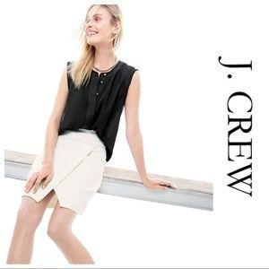 ⬇️ J. Crew White Crossover Wrap Skirt Size 4 😍